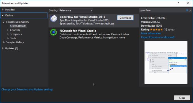 specflow-extension-vs2015